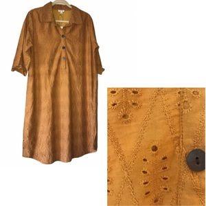 Boho Eyelet Mustard Dress Midi